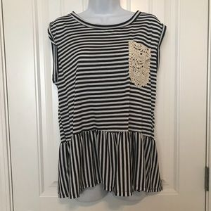 Navy and white stripe tank with lace